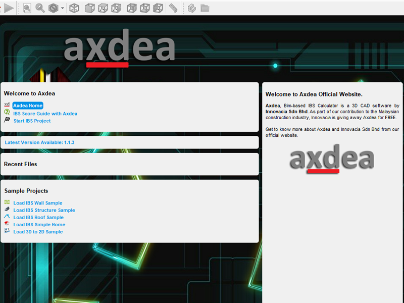 Axdea 3D CAD, BIM based IBS Score Freeware