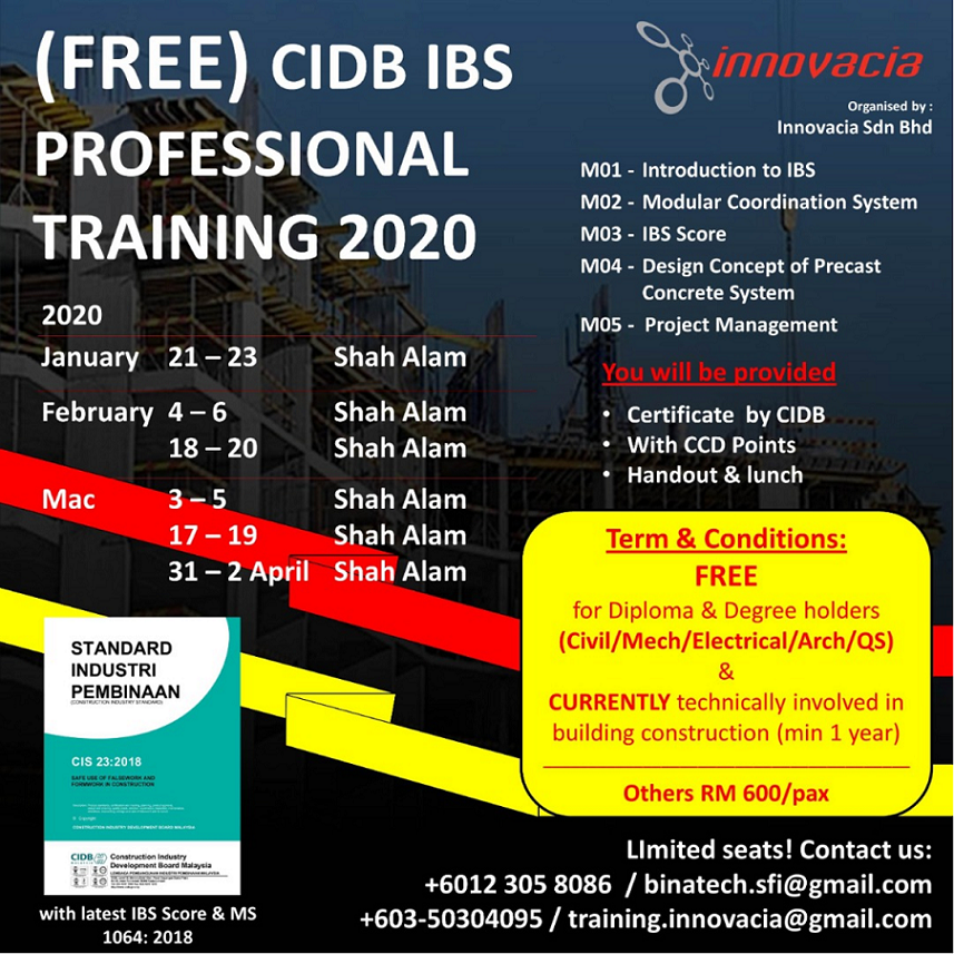 IBS01 - CIDB IBS Professional Module (3 days) – FREE OF CHARGE (REFER T&C) @ Innovacia Training Centre